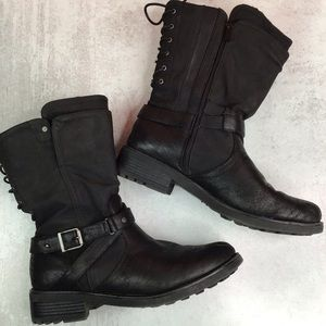 Torrid Black Lace Back Strappy Moto Boots 12W